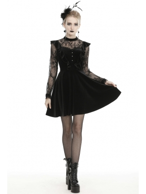 Black Cute Gothic Lace Velvet Long Sleeve Short Casual Dress