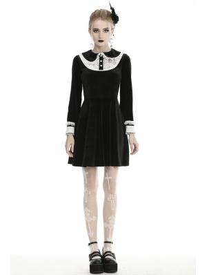Black and White Cute Gothic Velvet Long Sleeve Short Casual Dress