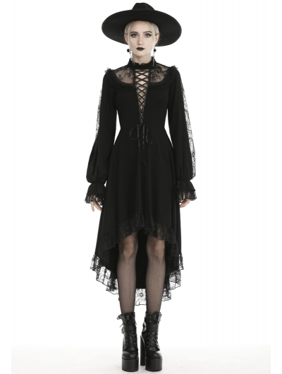 Black Vintage Gothic Sexy Long Sleeve High-low Party Dress
