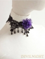 Black Lace Purple Flower Beading Gothic Necklace