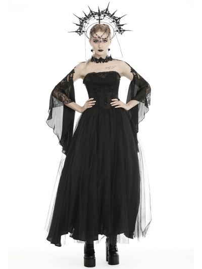 Black Vintage Gothic Strapless Gorgeous Maxi Prom Party Dress