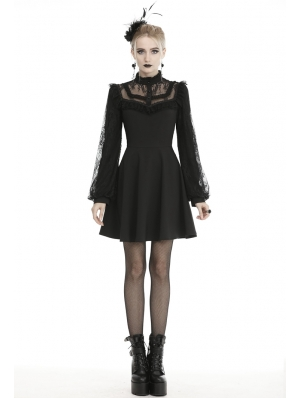 Black Cute Gothic Lace Long Lantern Sleeve Short Daily Wear Dress