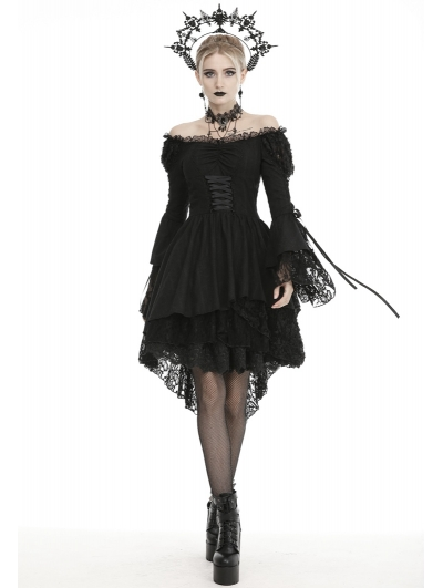 Black Gothic Decadent Off-the-Shoulder Long Sleeve Cocktail Party Dress