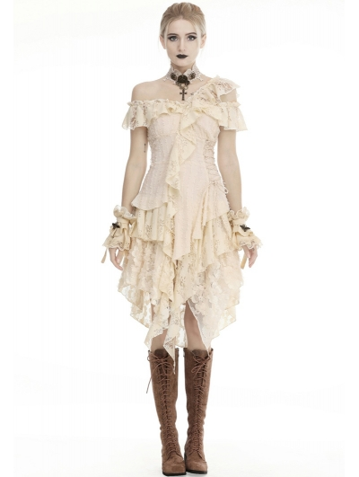 Ivory Steampunk Gothic Asymmetric Frilly Lace Dress