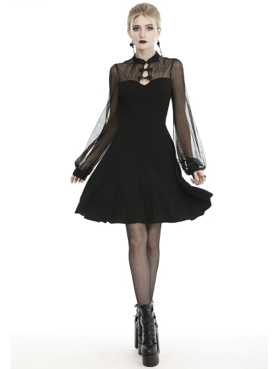 Black Vintage Sexy Gothic Butterfly Long Sleeve Short Dress