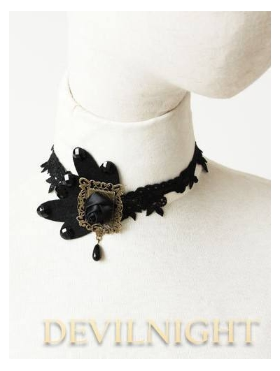 Black Butterfly Rose Lace Gothic Vampire Necklace