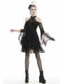 Black Gothic Off-the-Shoulder Lace Long Sleeve Short Party Dress