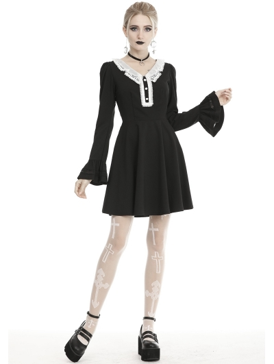 Black and White Gothic Grunge Long Sleeve Daily Wear Short Dress