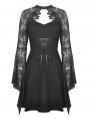 Black Gothic Elegant Lace Long Trumpet Sleeve Short Dress