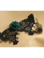 Black Lace Green Flower Pendant Gothic Bracelet Ring Jewelry