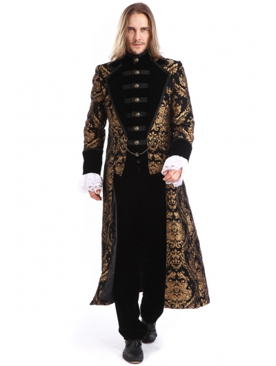 Gold Printing Pattern Gothic Swallow Tail Long Coat for Men