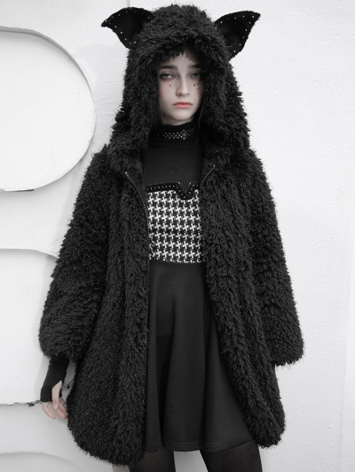 Black Street Fashion Cute Gothic Grunge Casual Warm Hooded Coat for Women