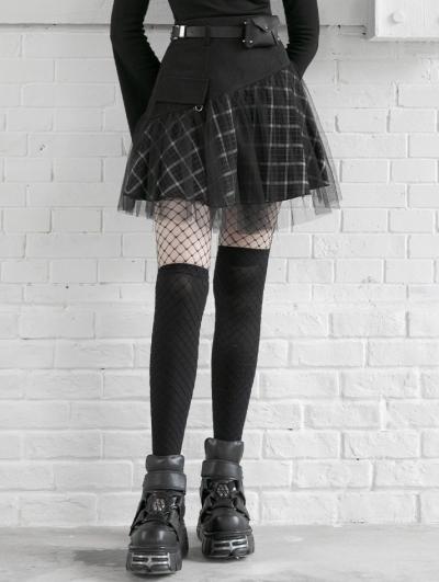 Black and White Street Fashion Grunge Gothic Plaid Gauze Mini Skirt