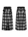 Black and Grey Street Fashion Grunge Gothic Slit Irregular Long Plaid Skirt