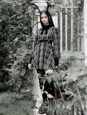 Black and White Plaid Street Fashion Grunge Gothic long sleeve daily wear short Dress