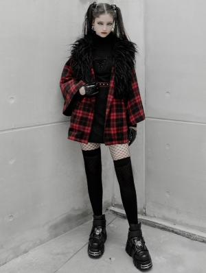 Black and Red Plaid Street Fashion Grunge Gothic Loose Coat for Women