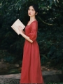 Red Vintage Short Puff Sleeve Medieval Inspried Long Casual Dress