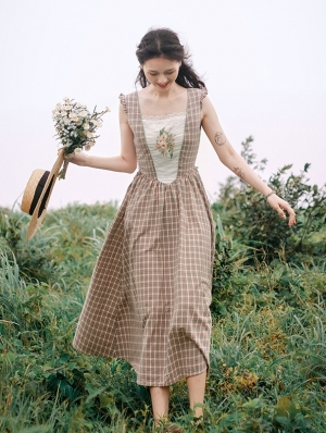 Vintage Plaid Floral Sleeveless Medieval Inspried Long Dress