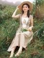 Vintage Plaid Floral Sleeveless Medieval Inspried Long Dress