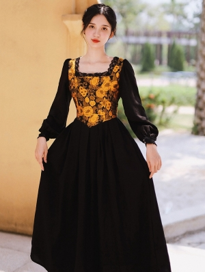 Black Vintage Jacquard Flower Lantern Sleeve Medieval Inspried Long Dress