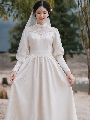 White Elegant Vintage Jacquard Long Sleeve Medieval Inspried Long Dress