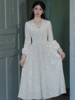 White Vintage Jacquard V-Neck Long Sleeve Medieval Inspried Long Dress