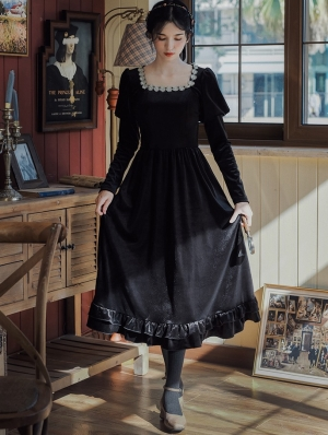 Black Velvet Vintage Princess Style Medieval Inspried Long Casual Dress