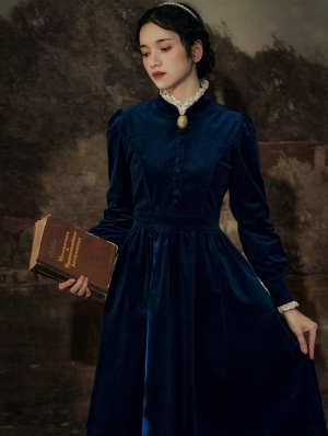 Blue Vintage Velvet Long Sleeve Medieval Inspried Long Dress