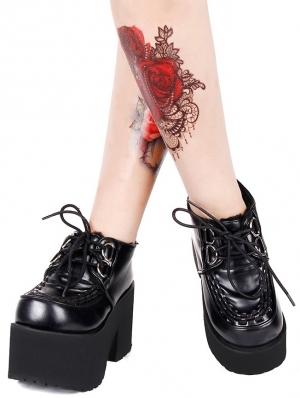 Black Gothic Grunge Punk PU Leather Lace-up Platform Shoes for Women