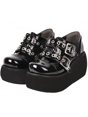 Black Gothic Grunge Punk Rivet Buckle Belt Platform Shoes for Women
