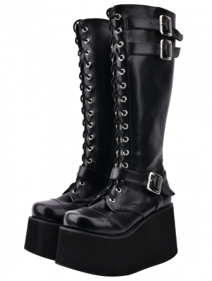 Black Gothic Grunge Punk PU Leather Lace-up Buckle Belt Platform Knee Boots for Women