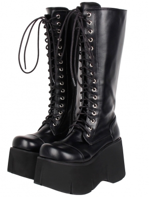 Black Gothic Grunge Punk PU Leather Lace-up Platform Knee Boots for Women