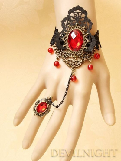 Black Lace Red Pendants Gothic Bracelet Ring Jewelry