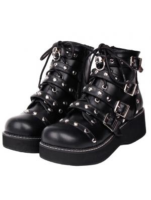 Black Gothic Grunge Punk Rivet Buckle Belt Platform Mid-Calf Boots for Women