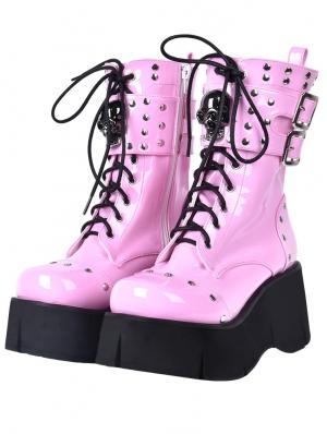 Pink Gothic Grunge Punk Rivet Skull Lace-up Mid-Calf Platform Boots for Women