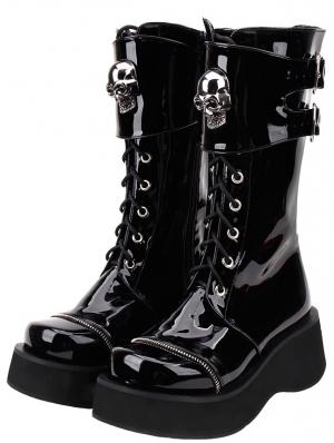 Black Gothic Grunge Punk Skull Buckle Belt Lace-up Platform Boots for Women