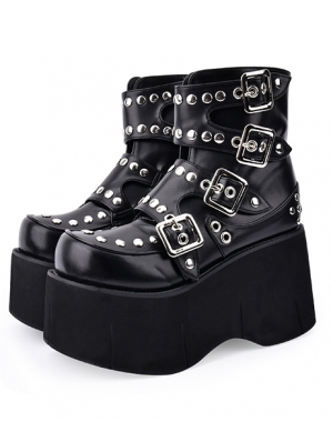 Black Gothic Grunge Punk Rivet Belt Platform Mid-Calf Boots for Women