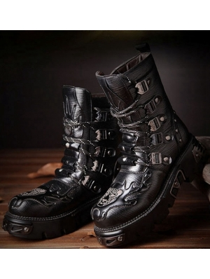 Black Gothic Punk Lace-up Platform Mid-Calf Boots for Men