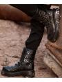 Black Gothic Punk Lace-up Platform Mid-Calf Boots for Men