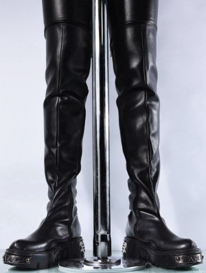 Black Gothic Punk Knee Platform Boots for Men