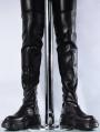 Black Gothic Punk Knee Platform Boots for Men