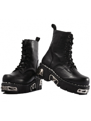 Black Gothic Punk Platform Mid-Calf Boots for Men
