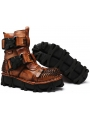 Brown Steampunk Mid-Calf Boots for Men