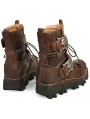 Brown / Black Gothic Steampunk Skull Mid-Calf Boots for Men