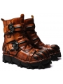 Brown / Black / White Do Old Gothic Steampunk Skull Mid-Calf Boots for Men