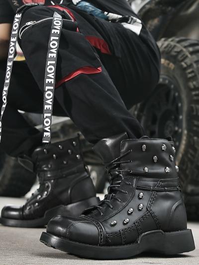 Black Gothic Punk Skull Mid-Calf Boots for Men