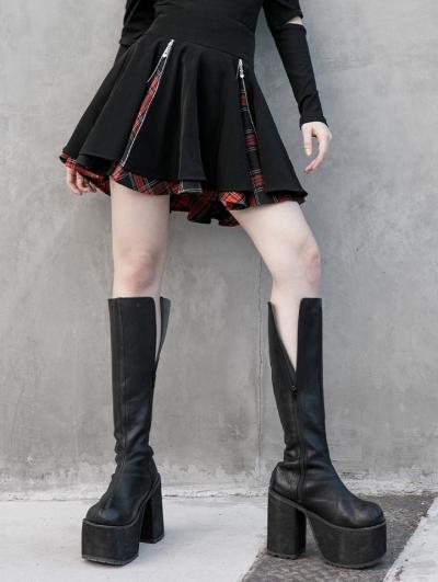 Black and Red Plaid Street Fashion Gothic Grunge Punk Short Skirt