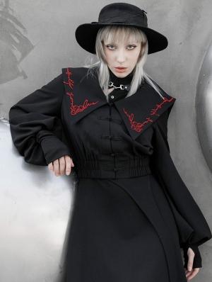 Black Street Fashion Vintage Gothic Grunge Long Lantern Sleeves Short Coat for Women