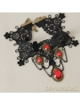 Black Lace Red Pendants Gothic Necklace