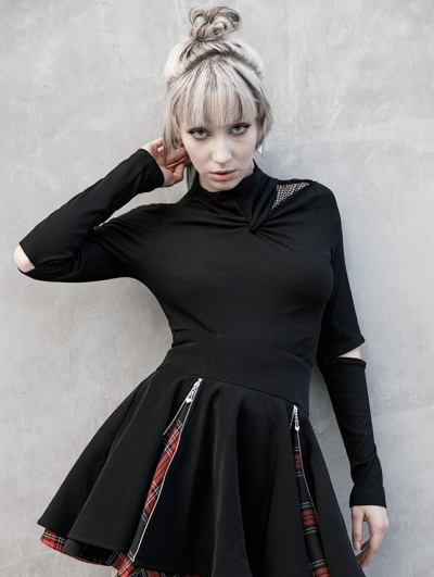 Black Gothic Grunge Hollowed-out Long Sleeve Casual T-Shirt for Women